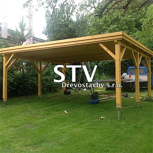 Garážové stání 6x5m DOUBLE zdvojené s pultovou střechou